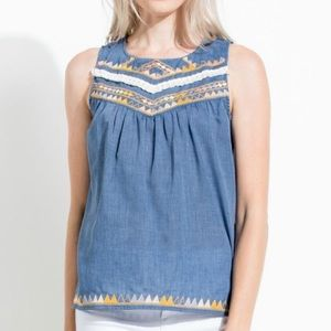 NWT THML Embroidered Chambray Top